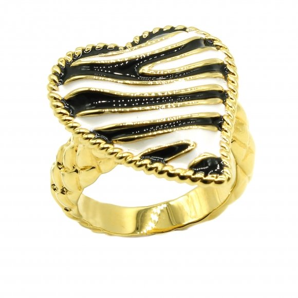 Anello Just Cavalli dorato con cuore zebrato