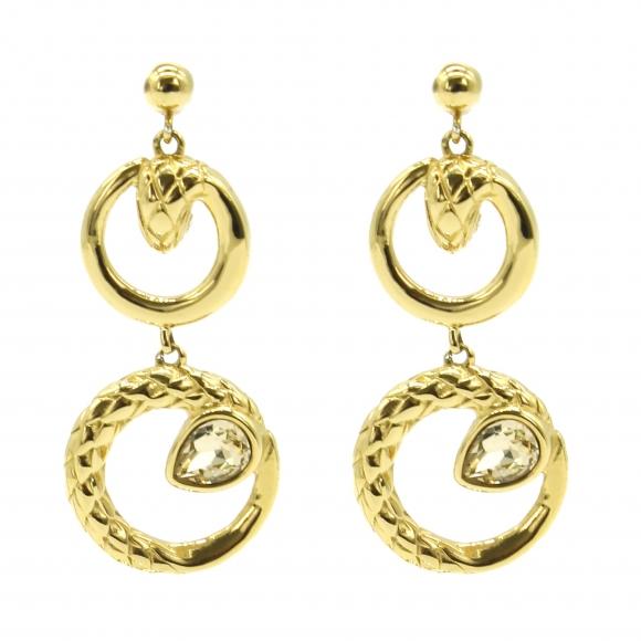 Orecchini Just Cavalli pendenti dorati con cerchi a serpente