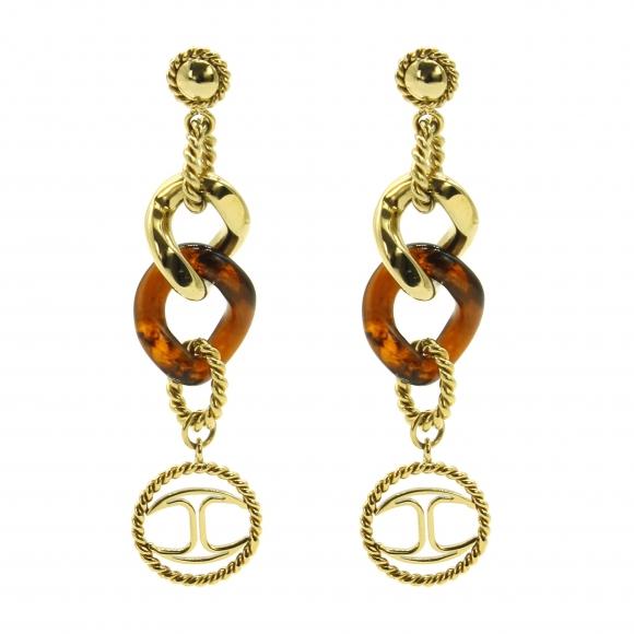 Orecchini Just Cavalli pendenti dorati con dettagli ambrati