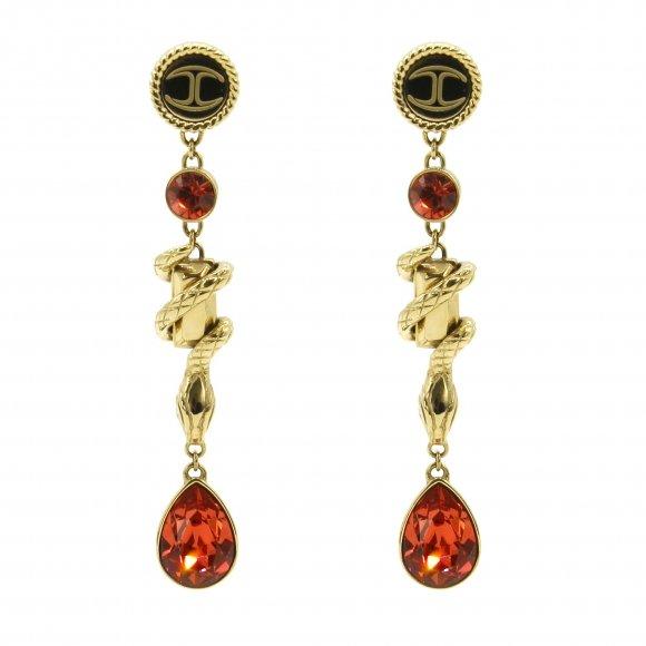 Orecchini Just Cavalli pendenti dorati con serpente e cristalli rossi