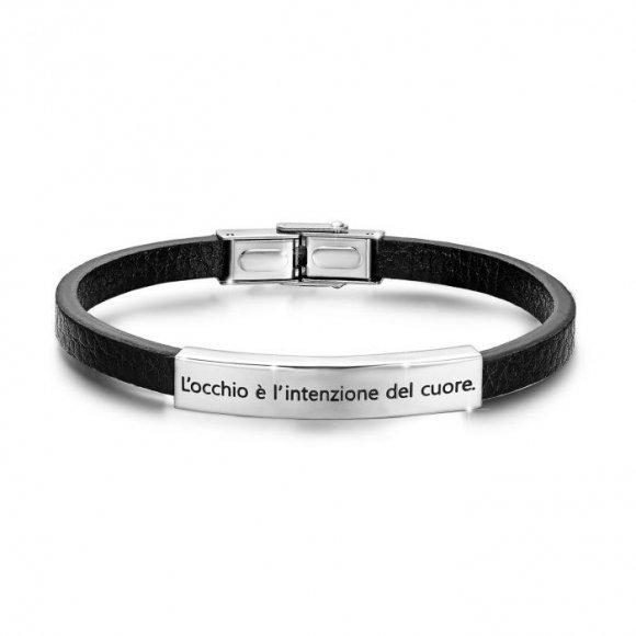 """Bracciale uomo Luca Barra in pelle con piastrina centrale con scritta """"l'occhio è l'intenzione del cuore"""""""