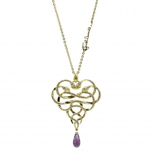 Collana Just Cavalli lunga dorato con serpenti a cuore e cristallo viola