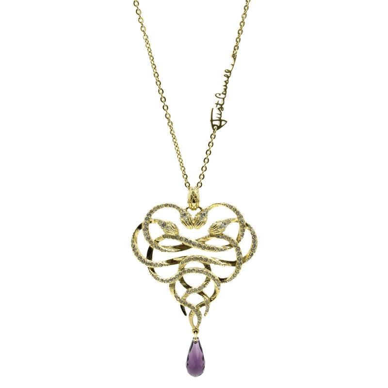 new product 0aa52 9ca62 Collana Just Cavalli lunga dorato con serpenti a cuore e cristallo viola