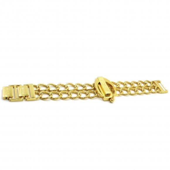 Bracciale Just Cavalli a doppia catena dorata e logo in rilievo