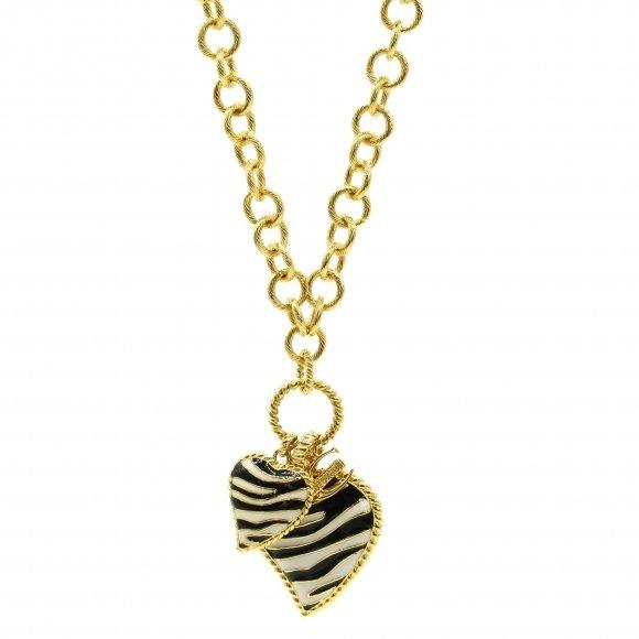 Collana Just Cavalli a catena dorata con cuori zebrati