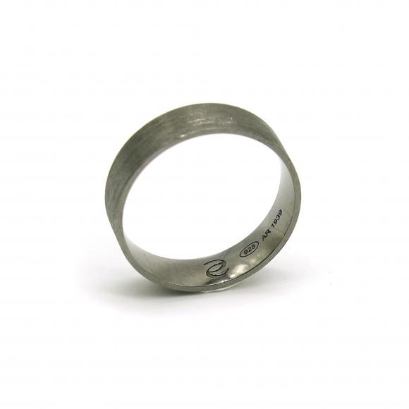 Anello Eclat a fascia alta 5mm argento brunito