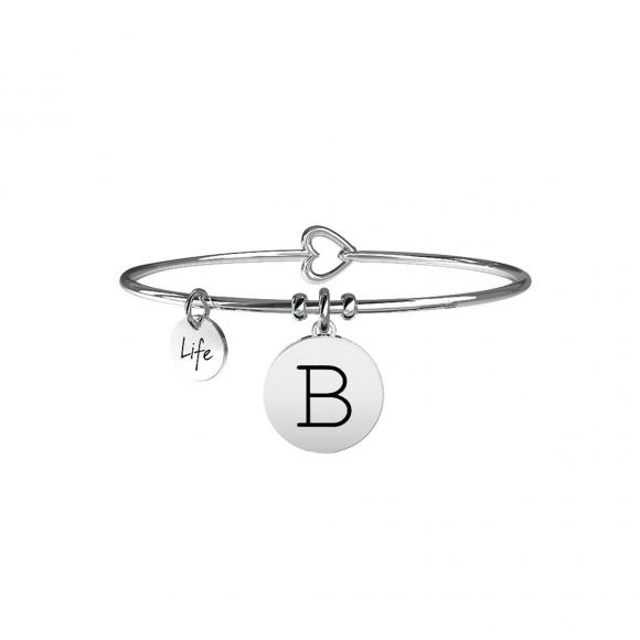 Bracciale Kidult in acciaio con pendente lettera B