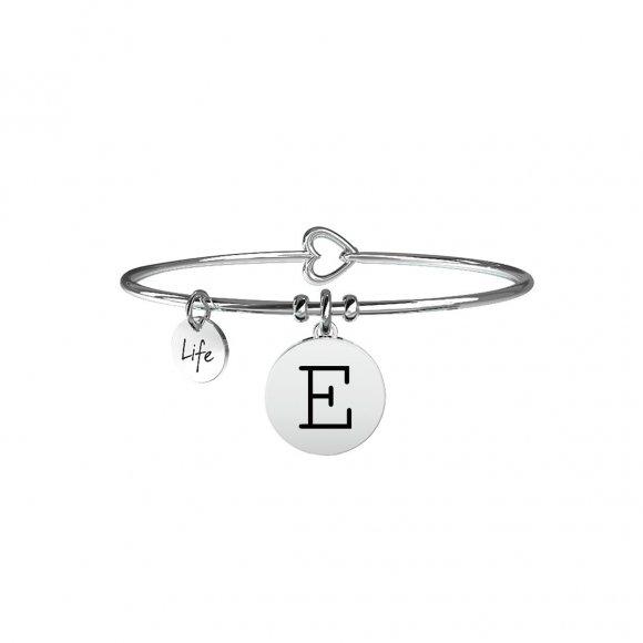 Bracciale Kidult in acciaio con pendente lettera E