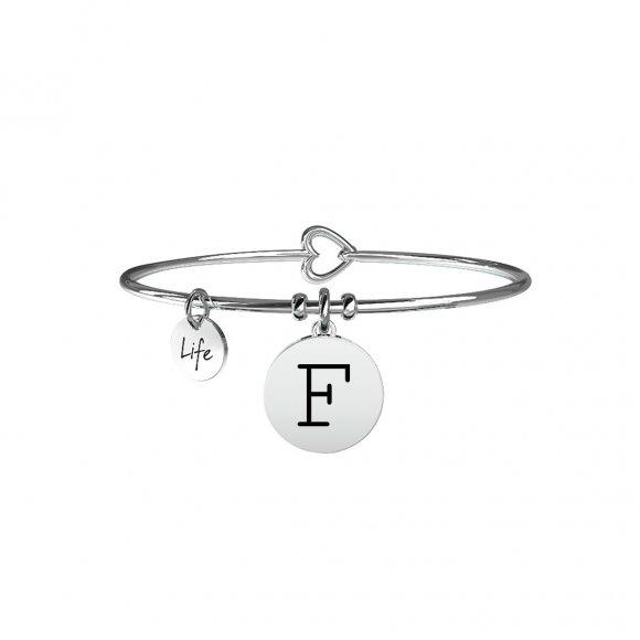 Bracciale Kidult in acciaio con pendente lettera F