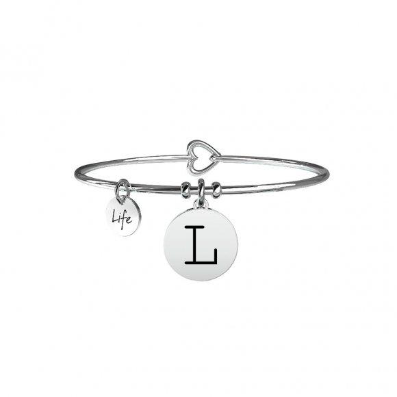 Bracciale Kidult in acciaio con pendente lettera L