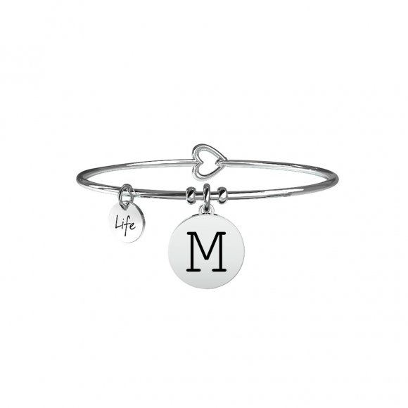 Bracciale Kidult in acciaio con pendente lettera M
