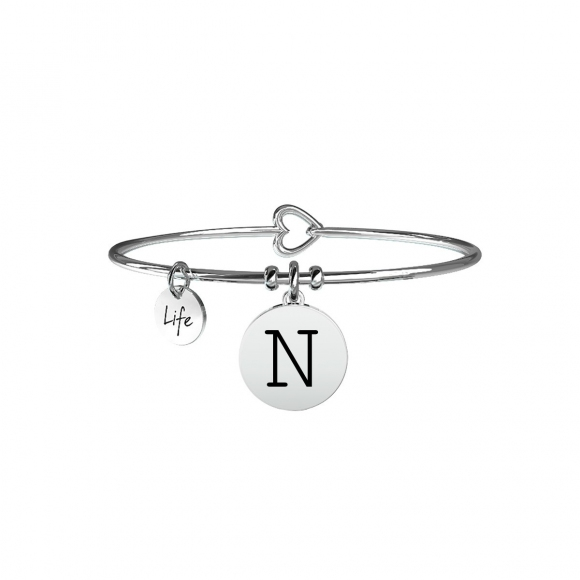 Bracciale Kidult in acciaio con pendente lettera N