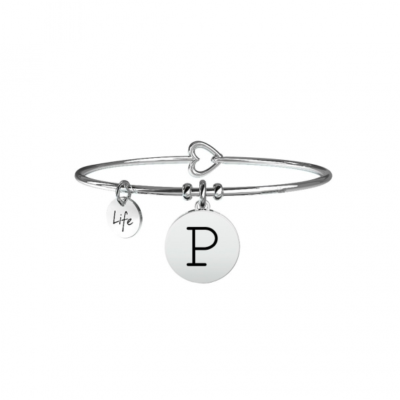 Bracciale Kidult in acciaio con pendente lettera P