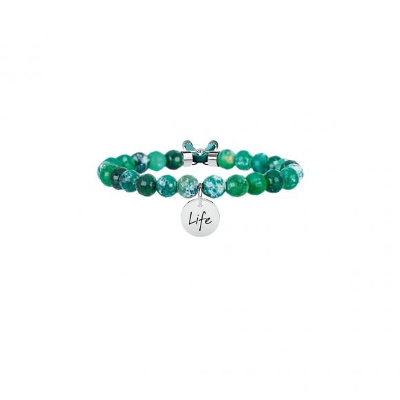 Bracciale Kidult con agata verde e acciaio - armonia