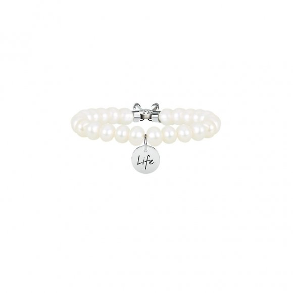 Bracciale kidult con perla coltivata e acciaio - bellezza