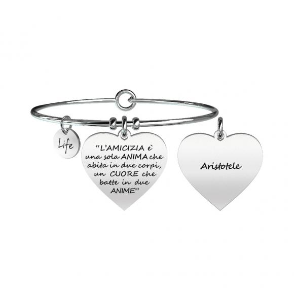 Bracciale Kidult in acciaio con ciondolo a forma di cuore e citazione di Aristotele