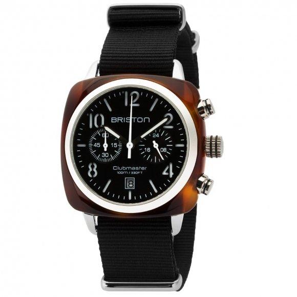 Orologio Uomo Briston- Clubmaster Classic Acetato - Cronografo guscio di tartaruga quadrante nero