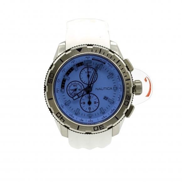 Orologio uomo Nautica con cinturino in silicone bianco e quadrante azzurro