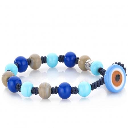 Bracciale Gerba Jewels uomo con perle di vetro di murano azzurre,blu,fango