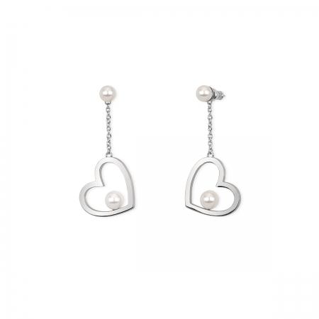 Orecchini 2jewels in acciaio con doppia perla e cuore pendente