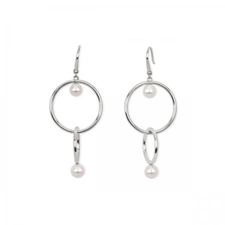 Orecchini 2jewels in acciaio con doppio cerchio e doppia perla