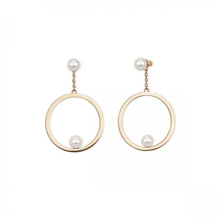 Orecchini 2jewels in acciaio rosè con cerchio e doppia perla