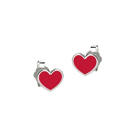 Orecchini Nanan a forma di cuore smaltati rossi