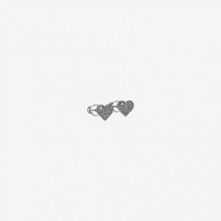 Orecchini Rebecca a lobo a forma di cuore rivestiti con micro diamanti