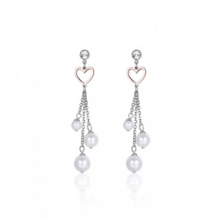 Orecchini Luca Barra con cuore rosè e perle pendenti