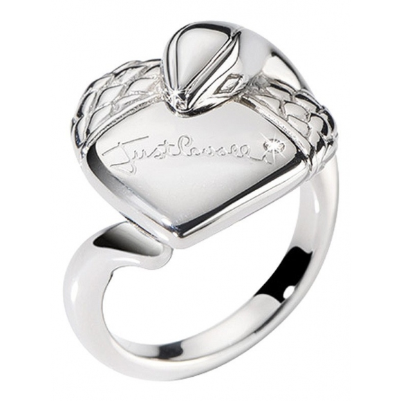 brand new 1407a 6002e Anello Just Cavalli in acciaio con cuore e zircone