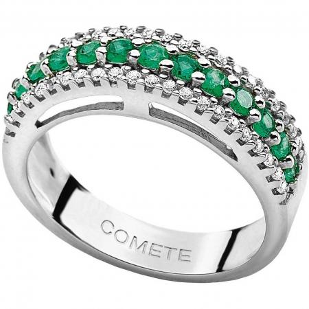 Anello Comete fascia con smeraldi e diamanti