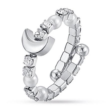 Anello Luca barra con zirconi e perle e luna centrale