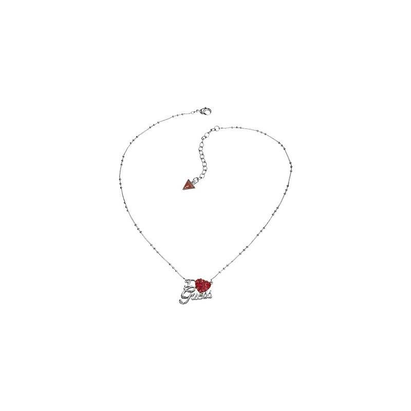 nuovo concetto 72ac9 1fad6 Collana Guess in acciaio con catena a palline e cuore rosso