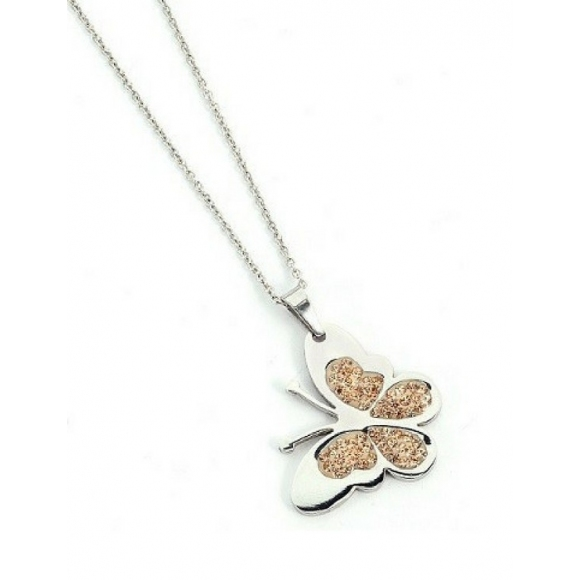 Collana Boccadamo in bronzo con ciondolo a farfalla con zirconi
