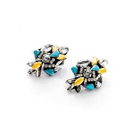 Orecchini Cesare Paciotti Jewels con pietre azzurre gialle e cristalli