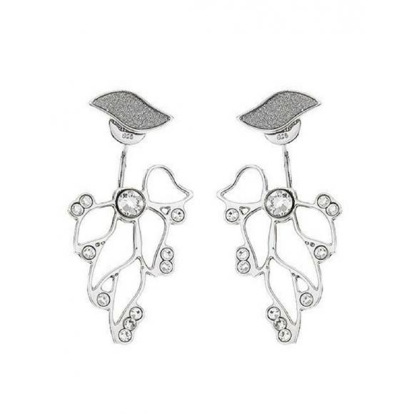 Orecchini Boccadamo asimmetrici con decoro fioriluna e cristalli Swarovski