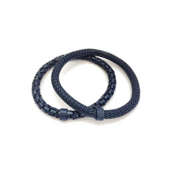Set Bracciali Silis uomo elastici in ottone con smalto blu opaco
