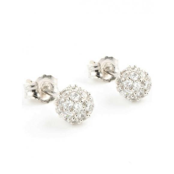 Orecchini Jack & Co in argento con sfera tempestata da zirconi bianchi