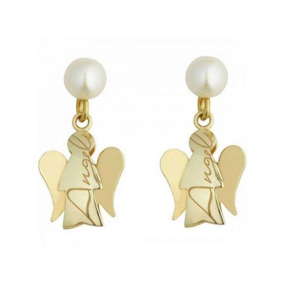 Orecchini Roberto Giannotti in oro 9KT con perla e angioletto pendente