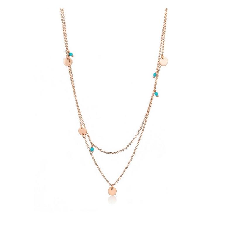 l'atteggiamento migliore bd3de 951d6 Collana Ania Haie in argento a girocollo doppio con ciondoli turchesi
