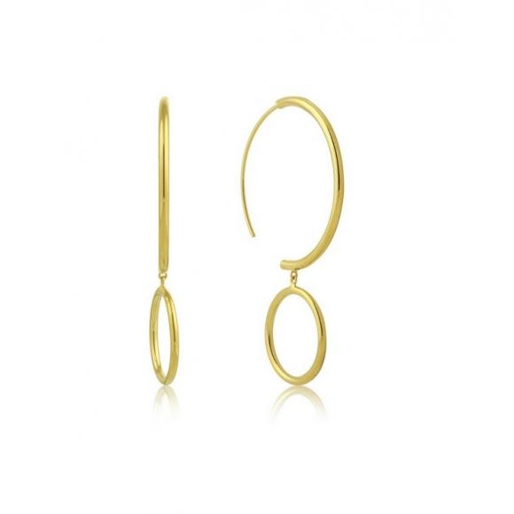Orecchini Ania Haie in argento placcato oro con cerchi a decrescere