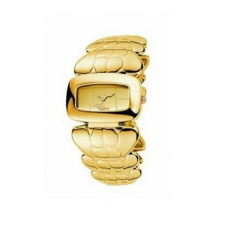 Orologio Roberto Cavalli in acciaio dorato effetto coccodrillato