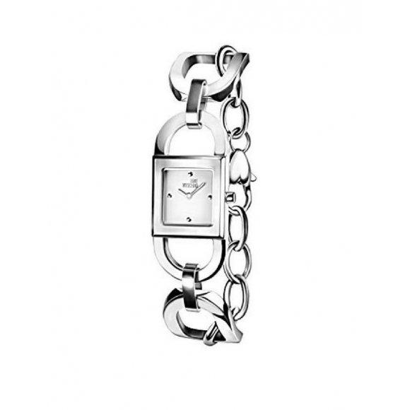 Orologio Moschino in acciaio con cassa quadrata e e maglia a catena