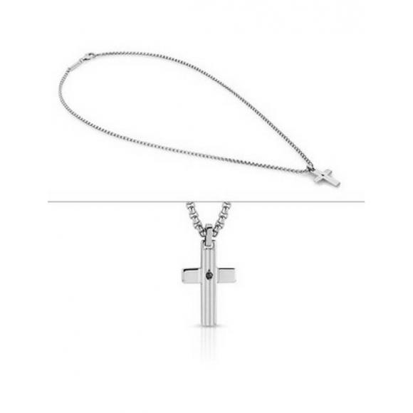 Collana Uomo Nomination in acciaio con croce e zircone centrale nero