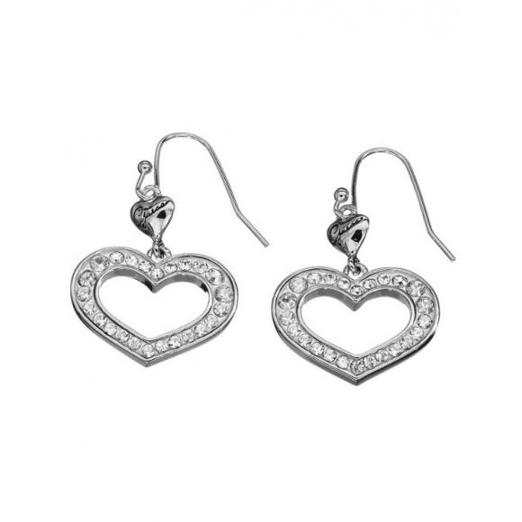 Orecchini Guess in acciaio con cuore pendente con zirconi