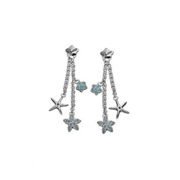 Orecchini Guess in acciaio pendenti con piccole stelle azzurre