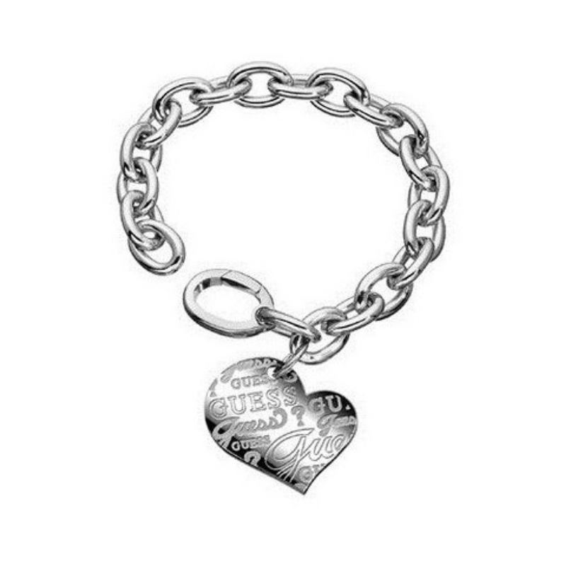 rivenditore online vari design taglia 7 Bracciale Guess in acciaio a catena con cuore pendente griffato