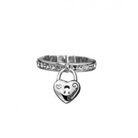 Anello Guess in ottone con zirconi e pendente lucchetto cuore