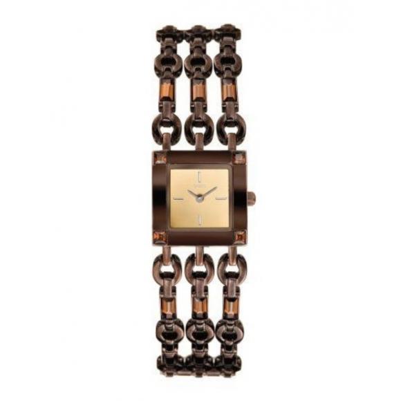Orologio Guess in acciaio marrone con baguette di zirconi sul cinturino
