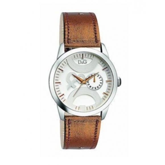 Orologio Dolce & Gabbana con cinturino di pelle e cassa rotonda multifunzione